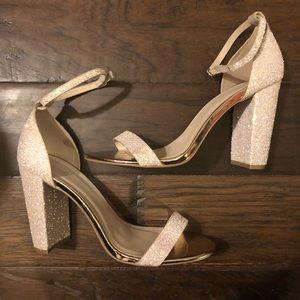 Qupid Glitter Block Heels - Size 10